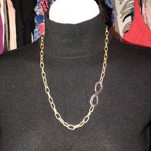 Long gold link necklace adjustable length